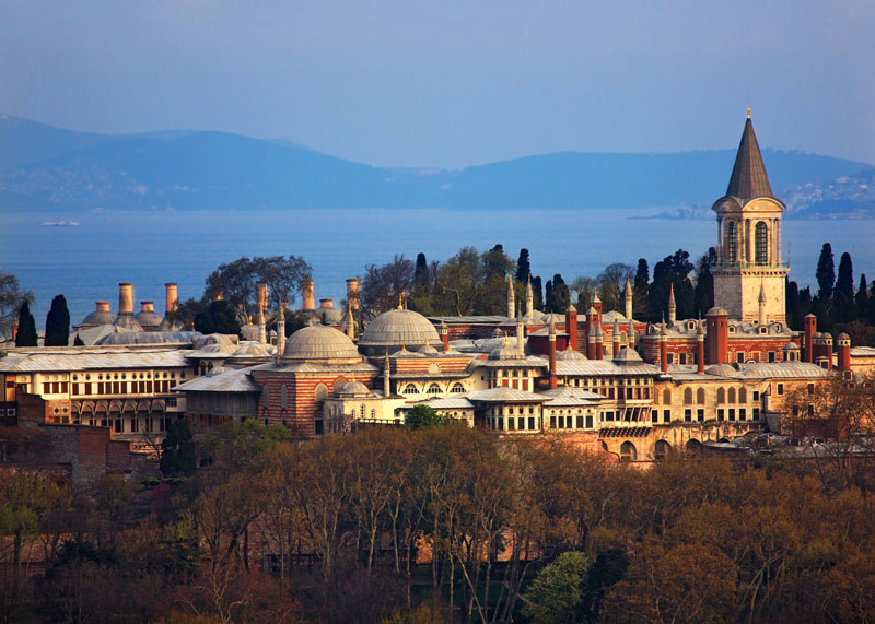 A panoramic day view of Topkapi Palace and Bosphorus