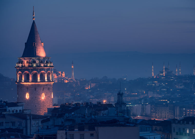 Galata Tower at evening
