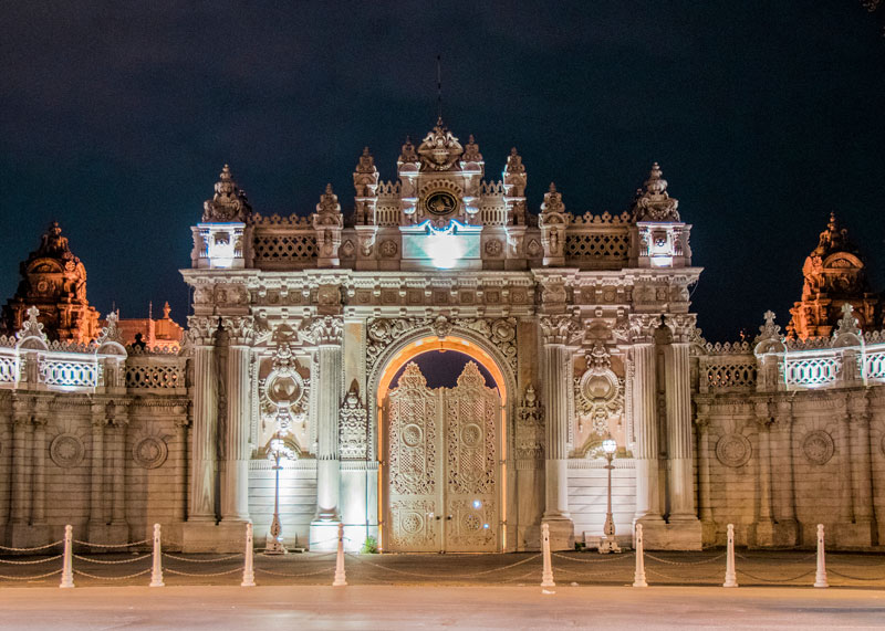 Dolmabahce Palace entrance night view