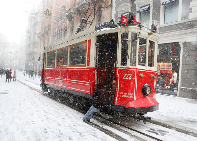 Tram on Istiklal Avenue during winter