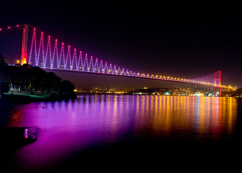 A night view of Bosphorus Bridge with beautiful lights