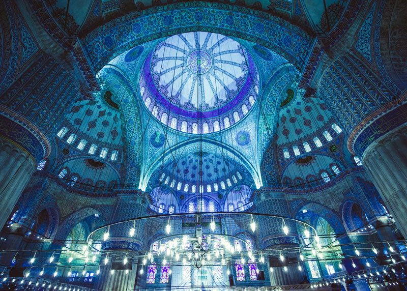 Blue Mosque dome from inside